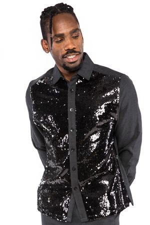 Royal Prestige Mens Black Sequin Front Unique Rayon Walking Suit Set PM550S - click to enlarge