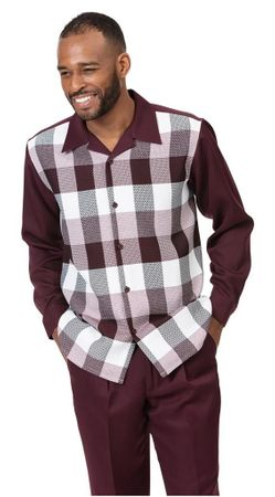 Montique Casual Walking Suit Mens Burgundy Plaid Set 2026