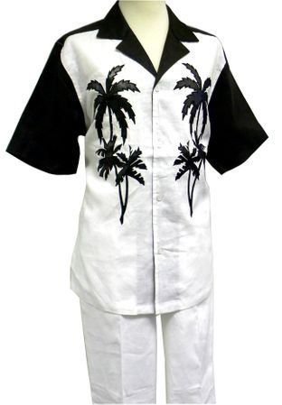 Prestige Mens Irish Linen Walking Suit White Palm Design LUX778