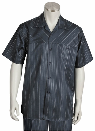 Canto Mens Charcoal Fancy Stripe Short Sleeve Walking Suits 6102 Size Large/36 Waist Final Sale - click to enlarge