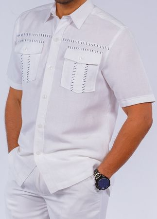 Prestige Mens White Black Baseball Stitch Irish Linen Sets LR301 - click to enlarge