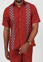Royal Prestige Mens Red Woven Checker Rayon Walking Suit PM-692
