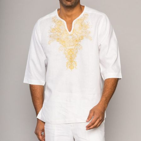 Prestige Irish Linen Walking Suit Mens White Gold Tunic LUX-873 - click to enlarge