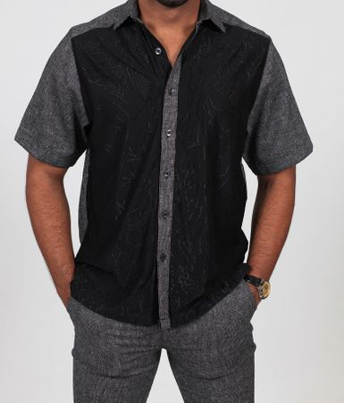 Prestige Black Knit Front Linen Casual Outfit LUX-658 - click to enlarge
