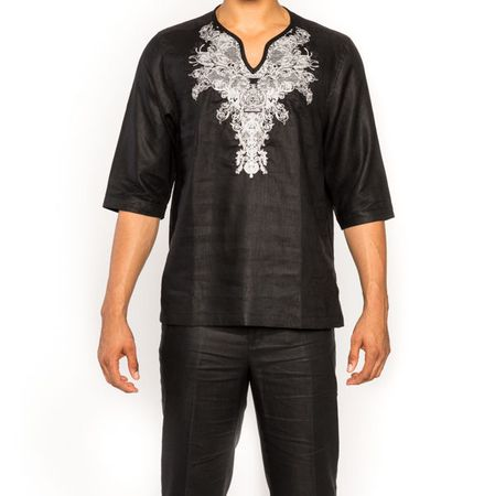 Prestige Irish Linen Dashiki Walking Suit Mens Black Tunic LUX-873 Size XL