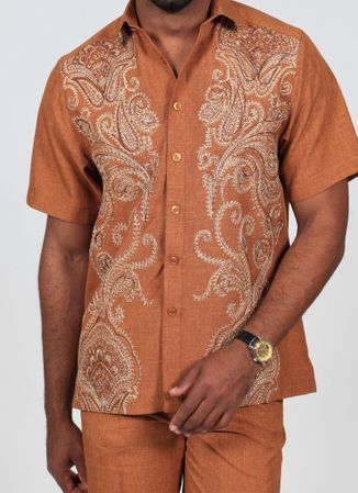 Royal Prestige Mens Tobacco Embroidered Front Rayon Walking Suit PM-693 - click to enlarge