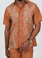 Royal Prestige Mens Tobacco Embroidered Front Rayon Walking Suit PM-693