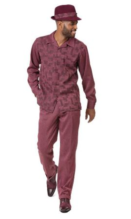 Montique Mens Walking Suit Burgundy Cube Design 2pc 2002