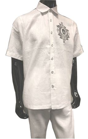 Prestige Fine Linen Walking Suit Mens White Medusa Embroider LUX081