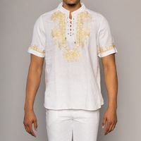 Prestige Mens White Tunic Irish Linen Walking Suit LUX-874