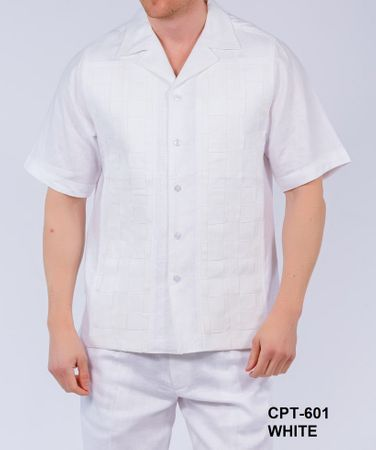 Royal Prestige Mens White Woven Design Irish Linen Outfit CPT601