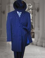 Zoot Suit Royal White Loud Stripe Long Jacket 3 Piece Alberto Zoot-200