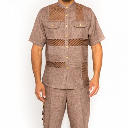 Prestige Mens Brown Irish Linen Outfit Mesh Front LUX-860 - click to enlarge