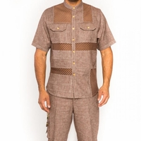 Prestige Mens Brown Irish Linen Outfit Mesh Front LUX-860