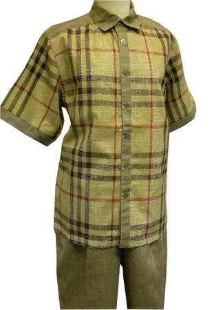 Prestige Khaki Plaid Perforated Linen Casual Outfit LUX-665