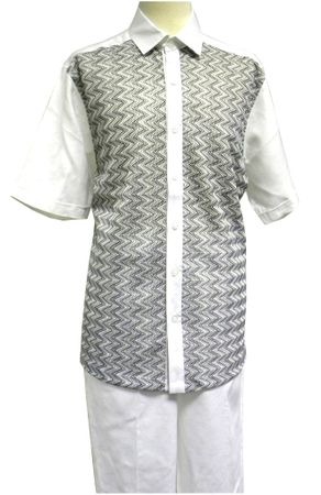 Prestige Mens Irish Linen Walking Suit White Knit Front LUX789