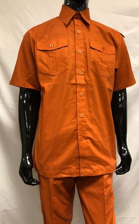 Royalty Culture Rust Linen Shirt Pants Outfit LC-211 Size M/32 - click to enlarge