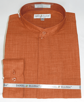 Rust Mandarin Collar Shirt for Men Daniel Ellissa DS3115C