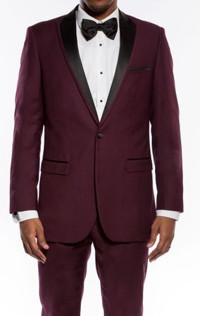Slim Fit Prom Suit Mens Burgundy 1 Button SA MT187S - click to enlarge