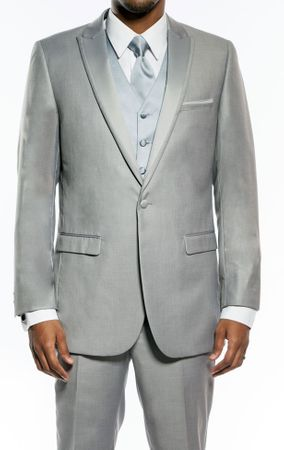 Slim Fit Prom Suit Mens Light Grey 1 Button SA MT187S - click to enlarge