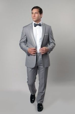 SA Mens Medium Gray 1 Button Slim Fit Prom Suit MT187S - click to enlarge