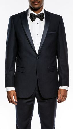 Slim Fit Prom Suit Mens Navy Blue 1 Button SA MT187S - click to enlarge