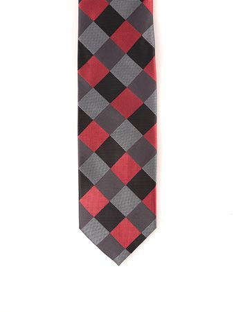 Steven Land Red Black Cube Pattern 100% Silk Tie and Hanky SS55  - click to enlarge