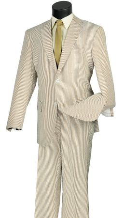 Seersucker Mens Suit Tan White Stripe Vinci 2SS-2 - click to enlarge