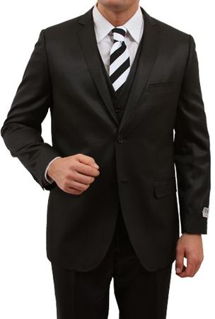 Shiny Black Young Men's Slim Fit Style Suit Three Pieces Tazio M163S - click to enlarge