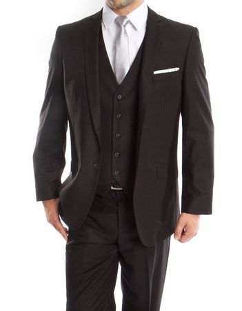 Men's Modern Fit  Black Style Suit Three Pieces Tazio M158-04