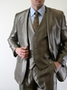Shiny Dark Gray Slim Fit Skinny Suit Stylish 3 Piece Vested Tazio M163S