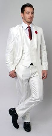 Shiny White Slim Fit Suit 3 Piece Tazio M163S - click to enlarge