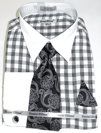 Shirt and Tie Set Black Gingham Plaid White Collar DS3804