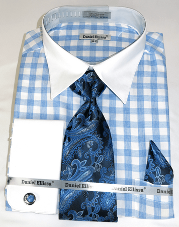 Shirt and Tie Set Blue Gingham Plaid White Collar DS3804