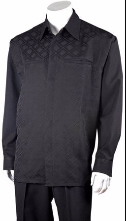 Fortino Mens Black Diamond Pattern Two Piece Walking Suit 2762 - click to enlarge