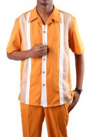 Jazz Papaya Block Stripe Short Sleeve Walking Suits PL3C-1