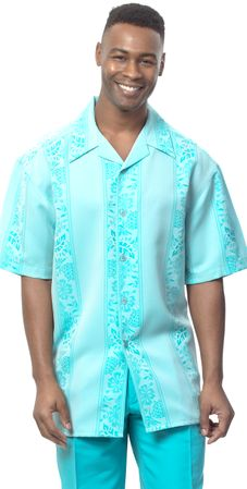 Montique Mens Short Sleeve Teal Pattern Walking Suit 550 Size M/33