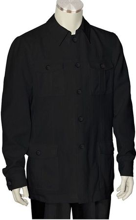 Canto Black Leisure Suit Pocket Front Jacket 8364 Size Large/34 Waist Final Sale - click to enlarge