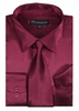 Silk Shirt Mens Burgundy Silky Satin Long Sleeve Tie Set Milano SG08
