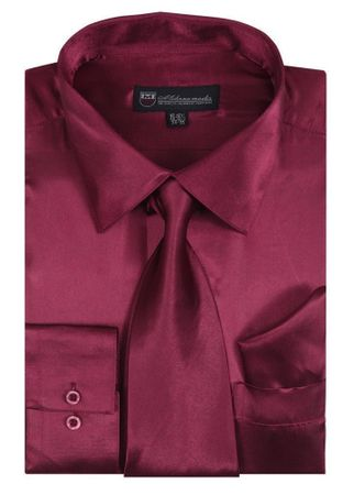 Silk Shirt Mens Burgundy Silky Satin Tie Set Milano SG08