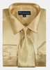 Silk Shirt Mens Gold Shiny Satin Long Sleeve Tie Set Milano SG08