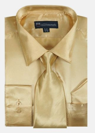 Silky Shirt for Men Taupe Champagne Shiny Satin Long Sleeve Tie Set 3012