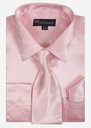 Silky Shirt for Men Pink Shiny Satin Long Sleeve Tie Set 3012