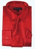 Silk Shirt Mens Red Satin Long Sleeve Tie Set Milano SG08