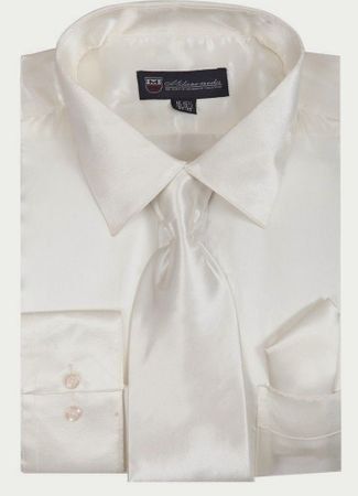 Silk Shirt Mens White Shiny Satin Long Sleeve Tie Set Milano SG08 - click to enlarge