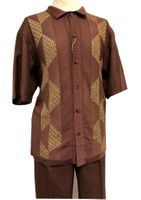 Silversilk 2 Piece Set Mens Brown Beige Knit Front Casual Outfit 4300