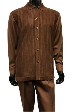 Silversilk Mens Brown Knit Front Casual Outfit 7383