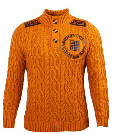 Prestige Men's Rust Cable Knit Sweater Greek Key PD-325 - click to enlarge