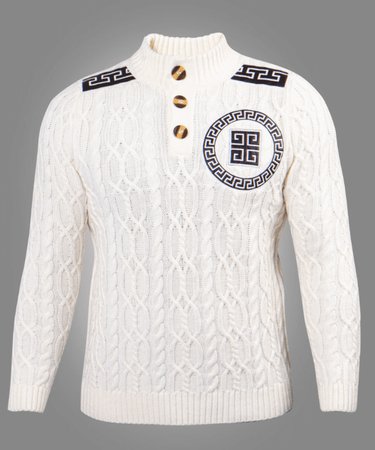 Prestige Men's Off White Cable Knit Sweater Greek Key PD-325 - click to enlarge