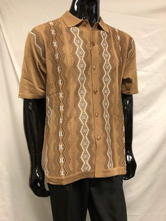 Silversilk Knitted Shirts for Men 1960s Beige Patterned 1212
